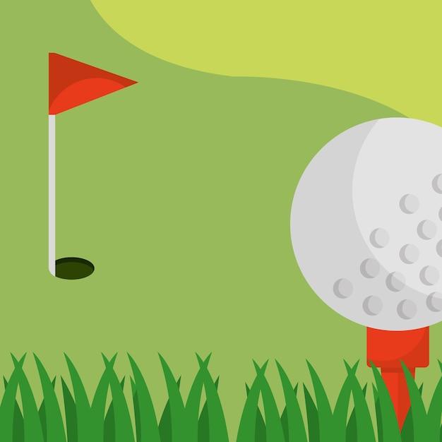 Golfveld rode vlag bal op tee Premium Vector