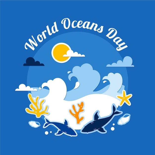 Golven en onderwater wezens platte wereld oceanen dag Gratis Vector