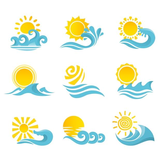 Golven stromend water zee oceaan pictogrammen instellen met zon geïsoleerde vector illustratie Gratis Vector