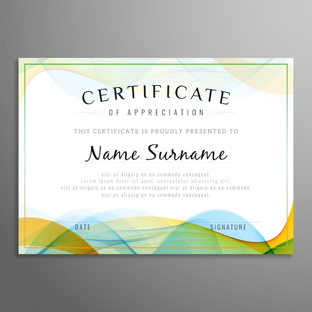 Golvend certificaat ontwerp Gratis Vector