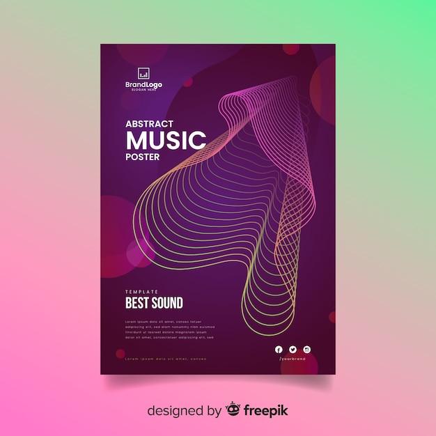 Golvende abstracte muziek poster sjabloon Gratis Vector