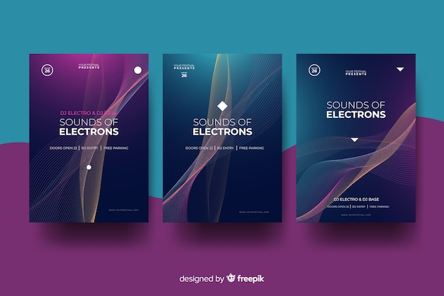 Golvende elektronische muziekaffiche Gratis Vector