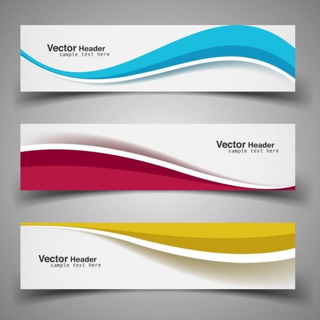 Golvende kleurrijke banners Gratis Vector