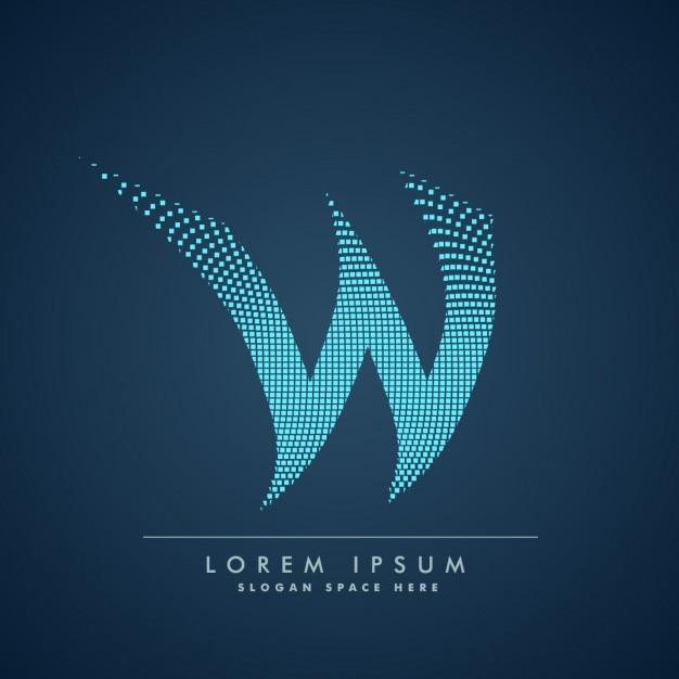 Golvende letter w logo in abstracte stijl Gratis Vector