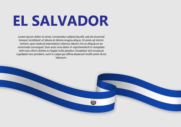 Golvende vlag van el salvador, vectorillustratie Premium Vector