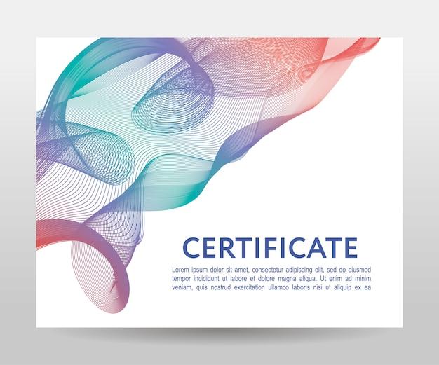 Golvende vormen certificaatsjabloon Premium Vector