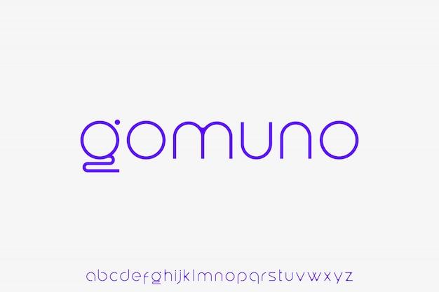 Gomuno. elegante futuristische kleine letters modern en strak alfabet Premium Vector