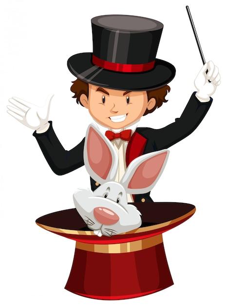 Goochelaar met magische hoed en toverstaf Gratis Vector