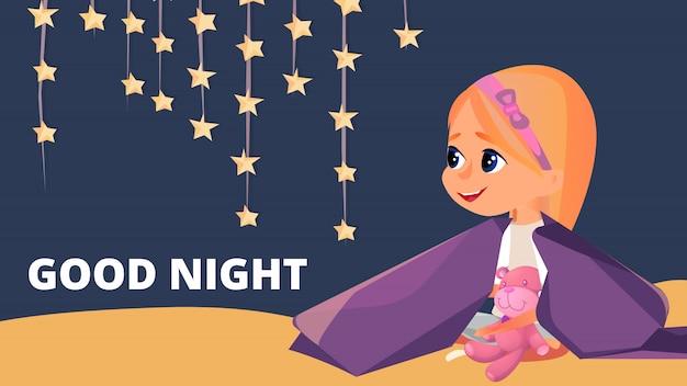 Good night girl in pyjama's zitten in deken Premium Vector