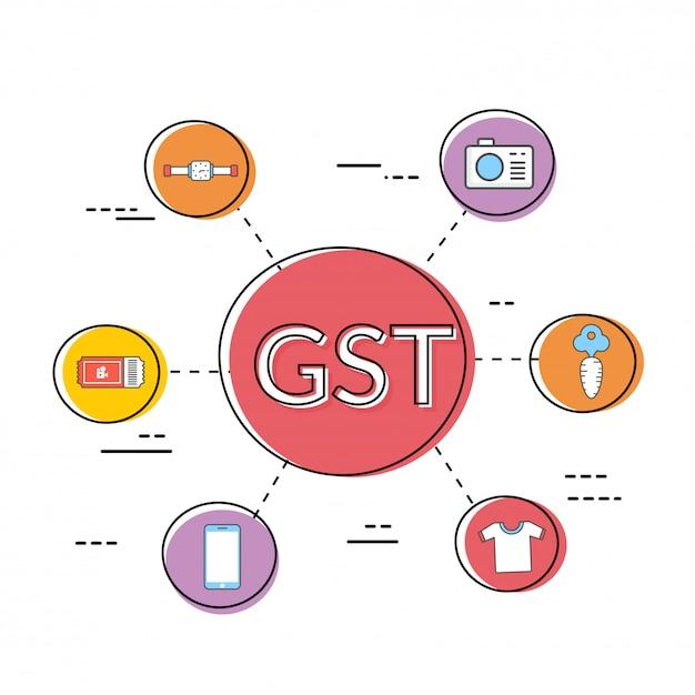 Good service tax (gst) concept met financiële elementen. Premium Vector