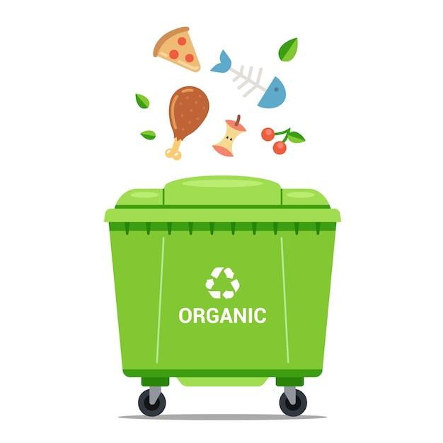 Gooi organisch afval in een grote groene vuilnisbak. platte vectorillustratie. Premium Vector