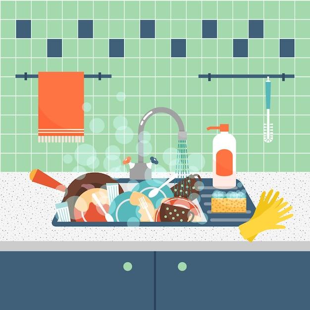 Gootsteen met vuil keukengerei en serviesgoed. rommel en gootsteen, vuil en keukengerei, spons wassen. Gratis Vector