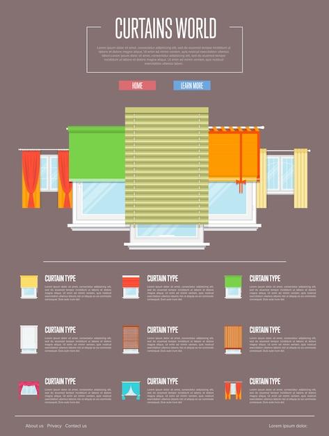 Gordijnen wereld infographic in plat ontwerp Premium Vector