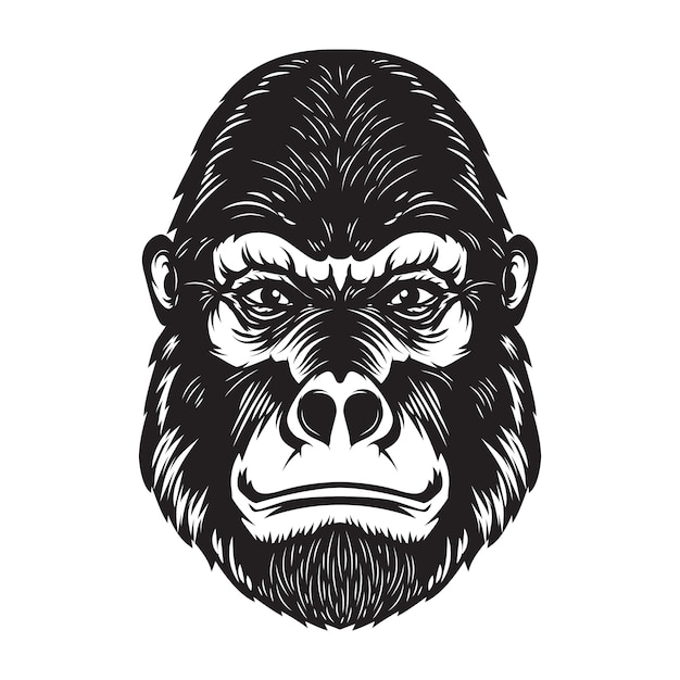 Gorilla aap hoofd illustratie op witte achtergrond. elementen voor poster, embleem, teken. beeld Premium Vector