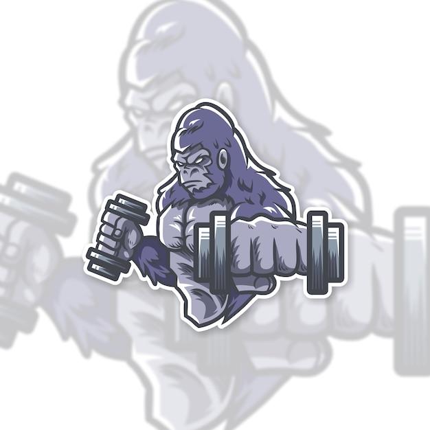 Gorilla gym logo-ontwerp Premium Vector