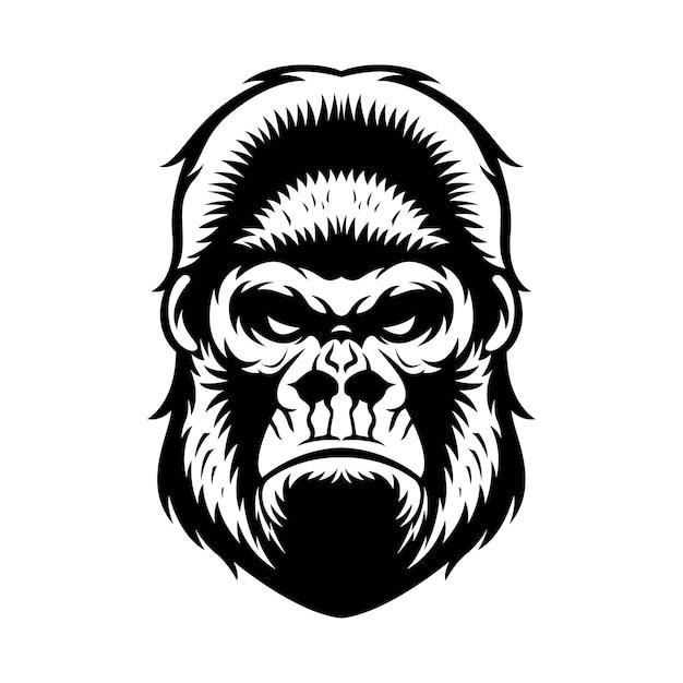 Gorilla hoofd grafische zwart-witte illustratie Premium Vector
