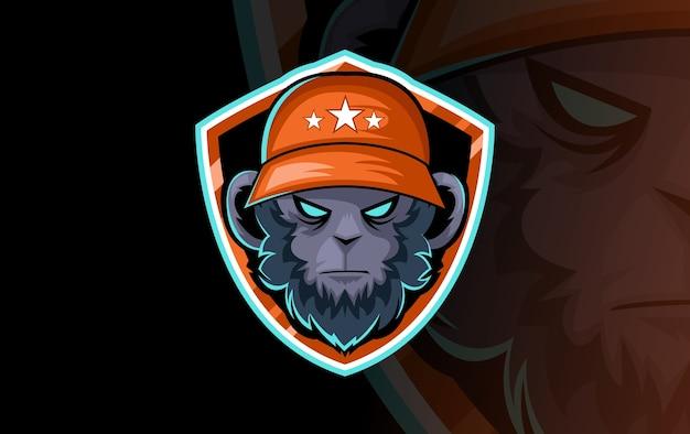 Gorilla hoofdlogo voor sportclub of team. dierlijk mascotte logo. sjabloon. vector illustratie. Gratis Vector