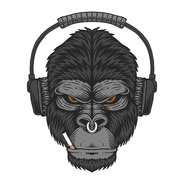 Gorilla hoofdtelefoon sigaret illustratie Premium Vector