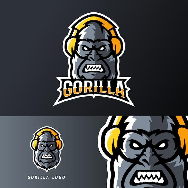 Gorilla met behulp van headset sport of esport gaming mascotte logo sjabloon Premium Vector