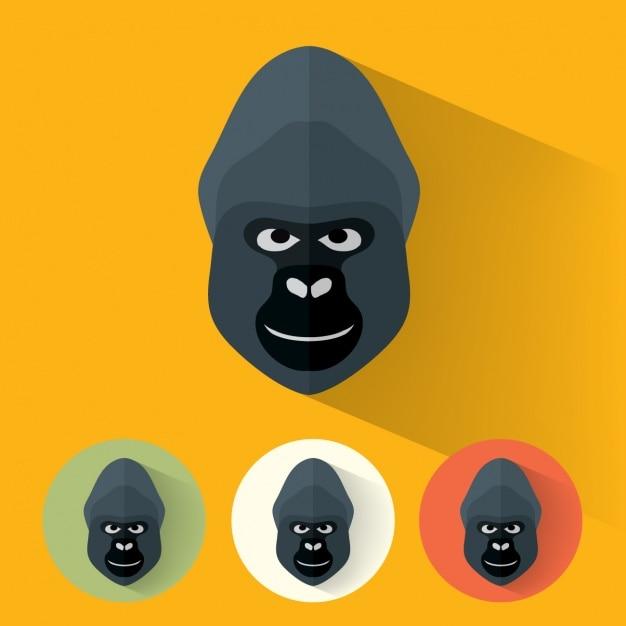 Gorilla ontwerpt collectie Gratis Vector