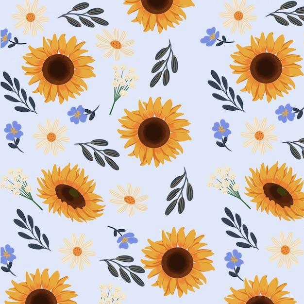 Goucahe zomer gele zonnebloem naadloze patroon Premium Vector