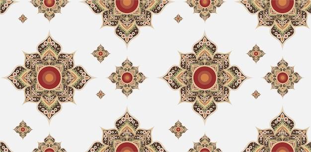 Goud en rood thais patroon. Premium Vector