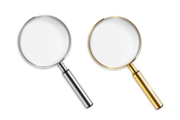 Goud en zilver vergrootglas op witte achtergrond. Premium Vector
