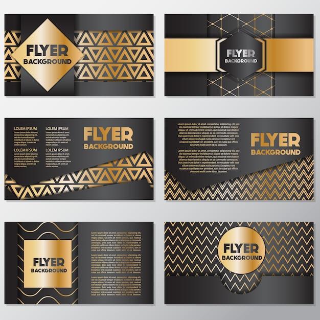 Goud en zwart flyer ontwerp Gratis Vector