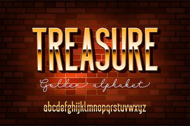 Goud gecondenseerd modern alfabet. sans serif metalen lettertype. technologie typografie gouden letters. Premium Vector