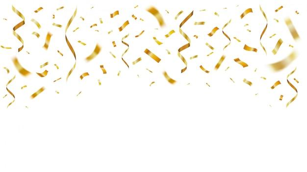 Goud glanzend realistische confetti. viering gouden papier confetti feest decor vliegen voor verjaardag. feestelijke vallende linten sjabloon. gele folie serpentijn voor verrassing verjaardagskaart Premium Vector
