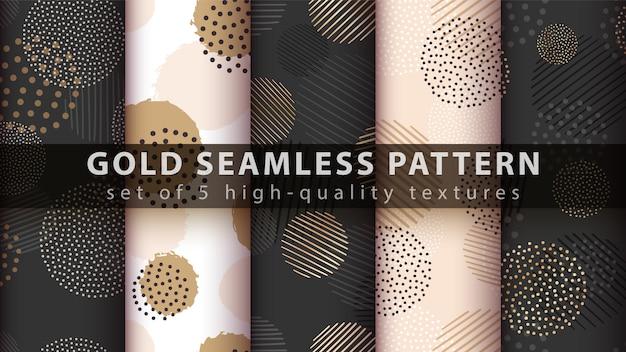 Goud, glitter, naadloze patroon instellen Premium Vector