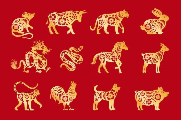 Goud op rode chinese horoscoop. vector chinese dieren dierenriem, china calandar borden set, astrologische oosterse dierenriem symbolen vector illustratie Premium Vector