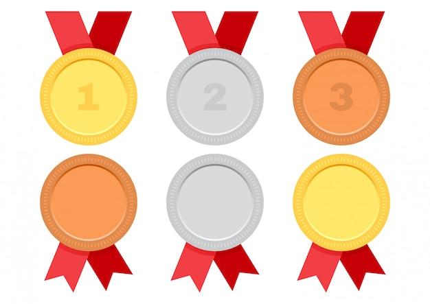 Goud, zilver en brons. set award medailles met rood lint. Premium Vector