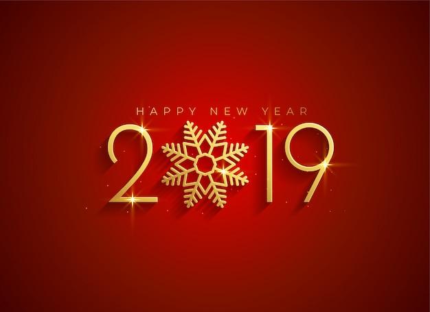 Gouden 2019 gelukkige nieuwe jaarachtergrond Gratis Vector