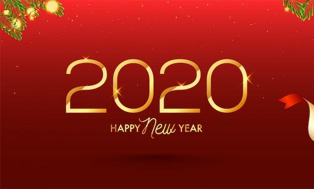 Gouden 2020 gelukkig nieuwjaar tekst op rode achtergrond ingericht Premium Vector