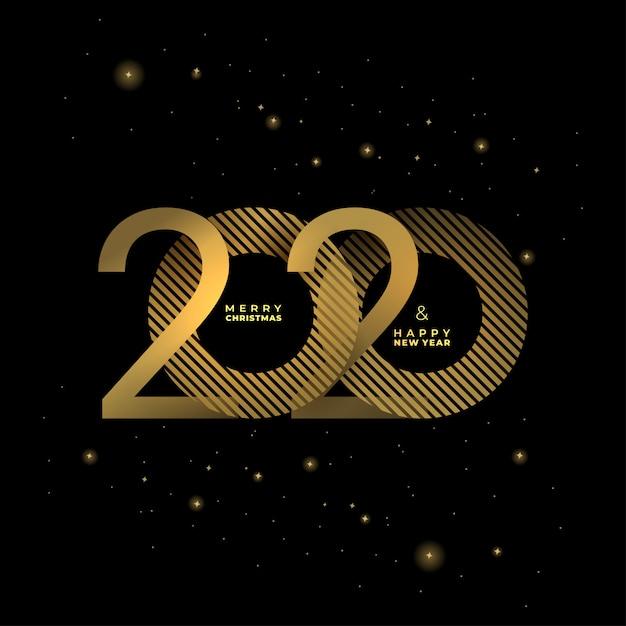 Gouden 2020 nieuwjaar op een donkere achtergrond Premium Vector
