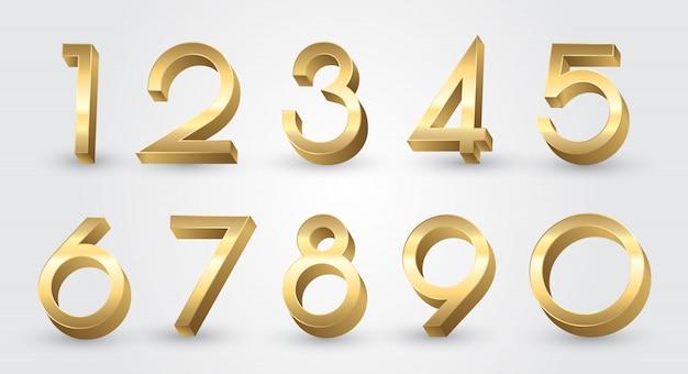 Gouden 3d-nummers instellen Premium Vector