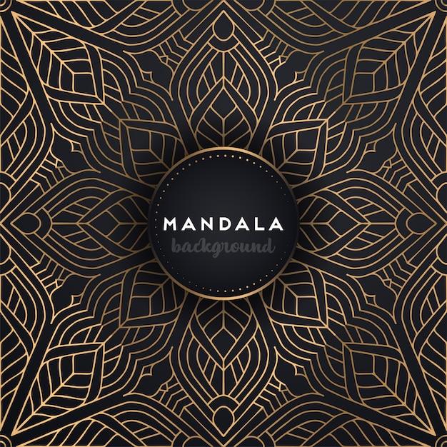 Gouden achtergrond met mandala Gratis Vector