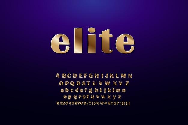 Gouden alfabet letters, symbolen, cijfers. Premium Vector