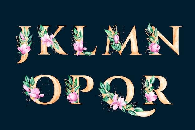 Gouden alfabet met elegant bloemenconcept Gratis Vector