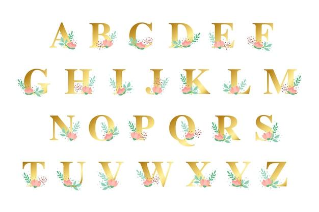 Gouden alfabet met gouden bloementhema Gratis Vector