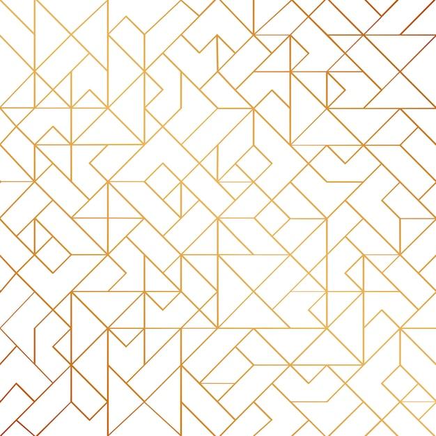 Gouden art deco naadloze patroon achtergrond met glanzende lijnen Premium Vector