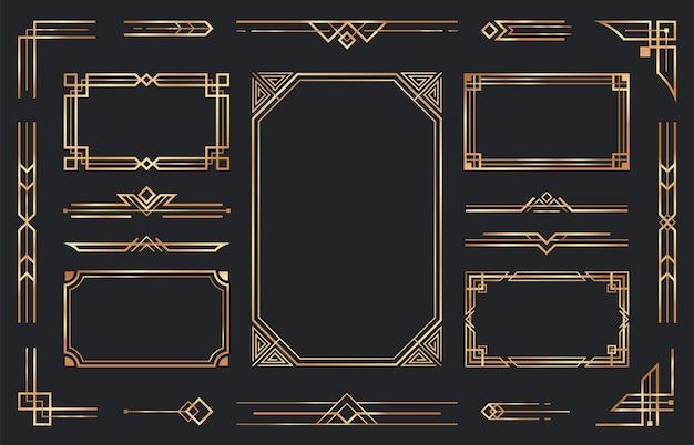 Gouden art deco-ornamenten. arabische antieke decoratieve gouden rand, retro geometrische sierlijst en sierlijke gouden hoeken Gratis Vector