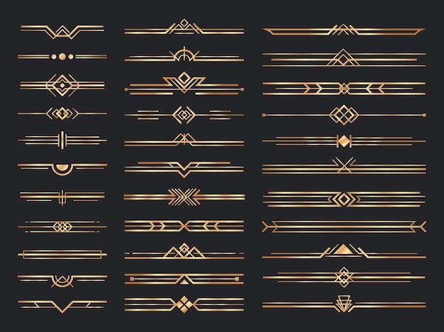 Gouden art deco verdelers. vintage gouden ornamenten, decoratieve scheidingslijn en header ornament uit de jaren 1920 Gratis Vector