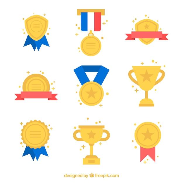 Gouden awards set met kleuren informatie Gratis Vector