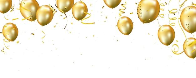 Gouden ballonnen achtergrond. Premium Vector