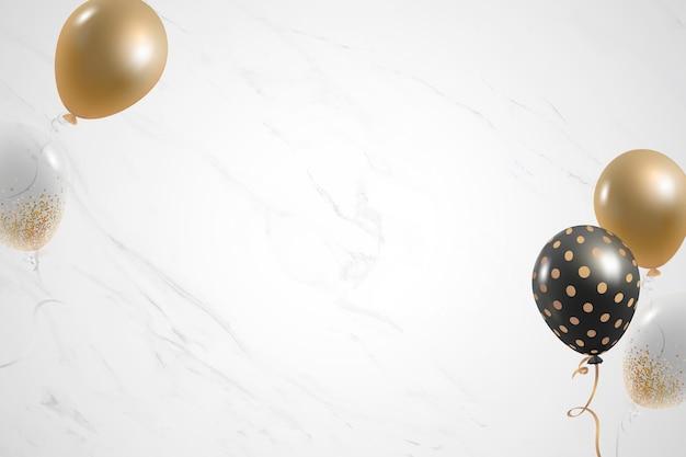Gouden ballonnen feestelijke witte marmeren achtergrond Gratis Vector