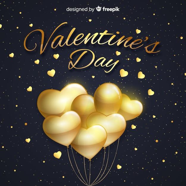 Gouden ballonnen valentijnskaart achtergrond Gratis Vector