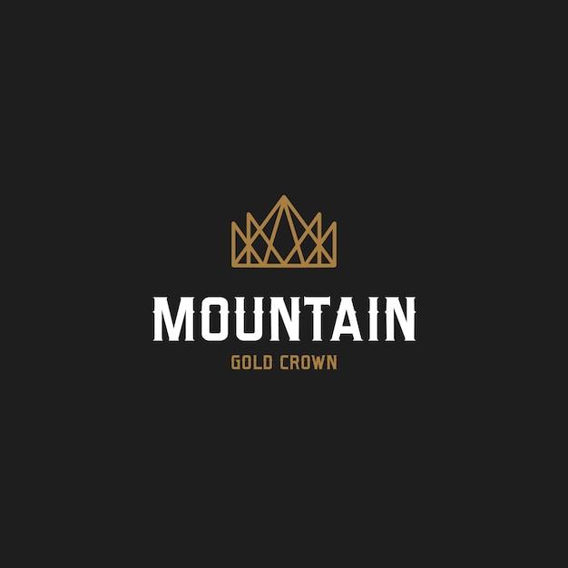 Gouden berg kroon logo Premium Vector