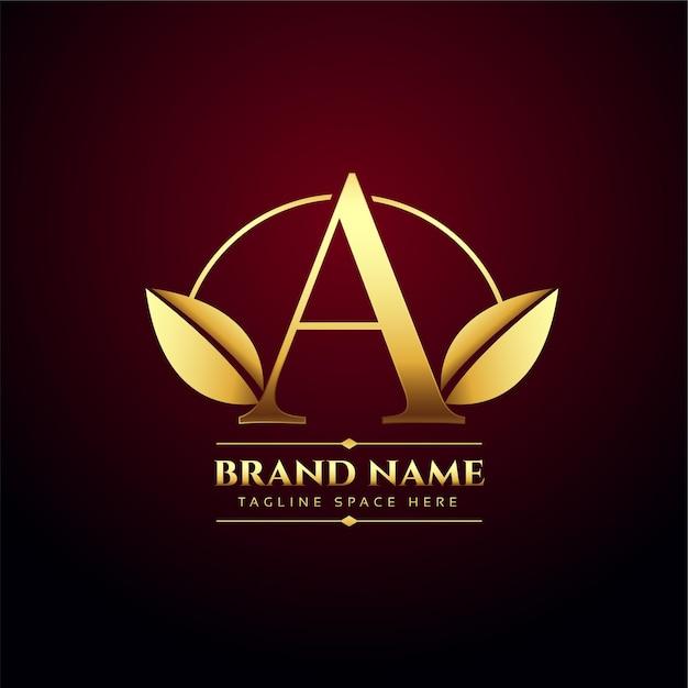 Gouden bladeren letter a concept-logo in premium stijl Gratis Vector